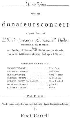 Uitnodiging van een van de donateurconcerten van Sint Caecilia.